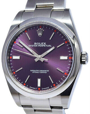 $ CDN9465.63 • Buy Rolex Oyster Perpetual Steel Red Grape Dial Mens 39mm Watch Box/Papers 114300
