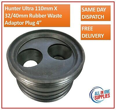 """£8.50 • Buy Twin Waste Pipe Adaptor 110mm Soil Takes 32/40mm Rubber Wastes Adaptor Plug 4"""""""