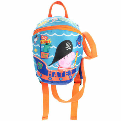 Boys George Pig Blue School Nursery Lunch Backpack Safety Harness Toddler Bag • 13.95£