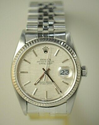 $ CDN7525.79 • Buy Rolex 16014 Ss 36mm Datejust White Gold Bezel Silver Dial Mens Automatic Watch