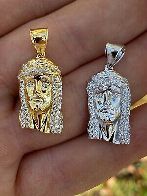 $21.58 • Buy Real Solid 925 Silver Small 1  Mini Jesus Piece Necklace Gold Pendant Mens Iced