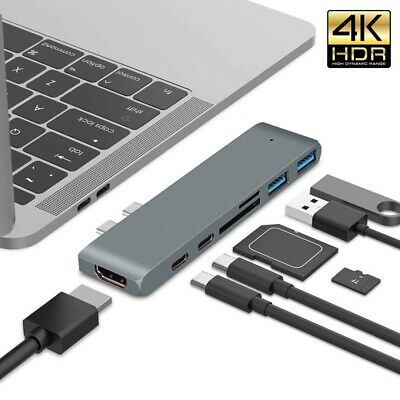 AU18.88 • Buy 6/7in1 USB Hub Dual Type-C Multiport Thunderbolt Adapter 4K HDMI For MacBook Pro
