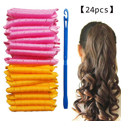 Magic Curlers Short Long Hair Spiral For Curl Formers Leverage Rollers With Hook • 10.78£