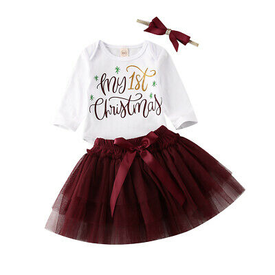 Newborn My 1st Christmas Baby Girls Outfits 3PCS Tops Romper+Tutu Skirt Clothes • 10.99£