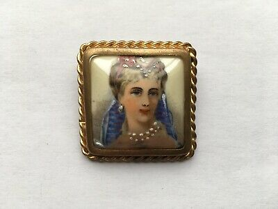 £29.99 • Buy C1950s VINTAGE LIMOGES CHINA HAND PAINTED LADY PIN BROOCH