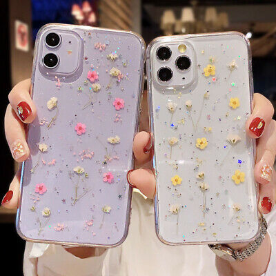 AU13.48 • Buy Cute Case For IPhone 12 Pro Max 12 Mini 11 Pro XS 7 8+ Glitter Real Dried Flower