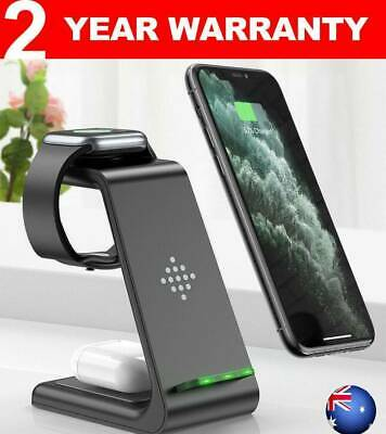 AU40.99 • Buy 3in1 Qi Fast Charger Dock Wireless Charging Stand For Apple Samsung Watch IPhone