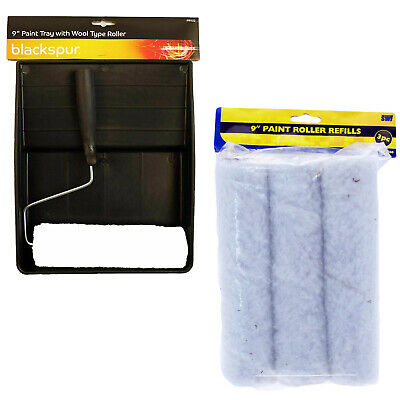 6 Pc 9  Paint Roller Set + Emulsion Sleeve Refills Handle & Tray Diy Painting • 6.99£