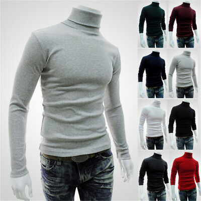 Mens Roll Turtle Polo Neck Shirt Long Sleeve Jumper Knitted Pullover Sweater Top • 4.96£