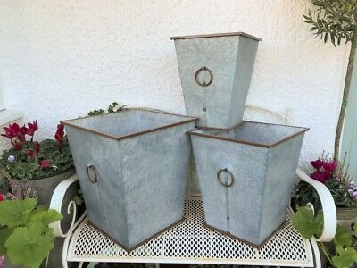 Extra Large Metal Garden Planters Vintage Style Rustic Plant Pot Tub Containers • 35.99£