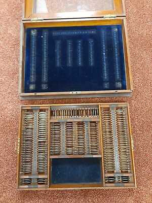 Antique Optometry Set In Case Optometrists Opticians Eye Lens Sets Sight Chart • 279£
