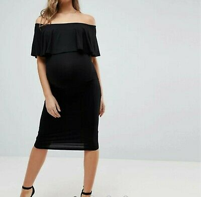 AU10 • Buy ASOS Maternity Midi Bardot Pencil Dress With Ruffle Black Size 10