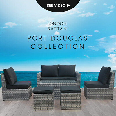 AU929 • Buy LONDON RATTAN Outdoor Furniture 6pc Setting Chairs Lounge Set Sofa Couch