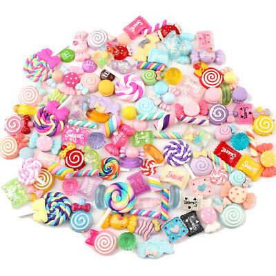 AU14.69 • Buy DIY 100X Mixed Candy Sweets Slime Charms Set Cute Resin Flatback Slime Beads