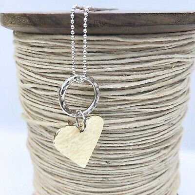 Long Sterling Silver Ball Chain With Large Brass Hammered Heart 80cm / 31.5  • 65£
