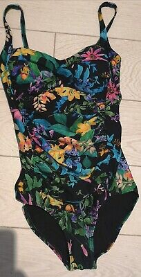 Marks And Spencer Tummy Control Swimsuit BNWOT Black Mix Floral Size 8 • 9.90£