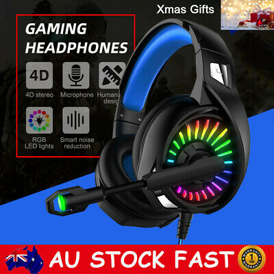 AU36.89 • Buy Gaming Headset USB Wired Over LED Headphones Stereo With Mic For Xbox One NEW AU