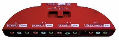Electrovision T114KB 4 Way Phono Selector Switch With 1x SVideo • 6£
