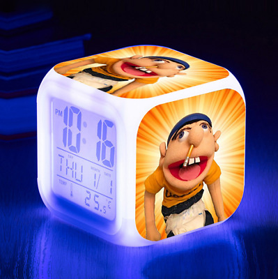 AU19.96 • Buy Jeffy Puppet Colours Changing LED Night Light Time Date Digital Alarm Clock Gift