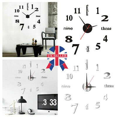 Large DIY 3D Frameless Number Wall Clock Mirror Sticker Modern Home Office Decor • 5.59£