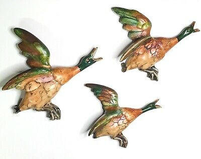 £241.79 • Buy VTG Set Of 3 Flying Duck Wall Plaques. Vivid Hand Glazed Colors