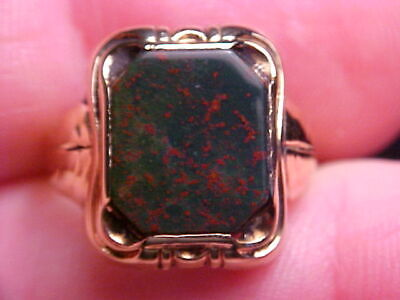 £331.07 • Buy 1940's 10K GOLD 4.52ct GEN. BLOODSTONE RING SZ 7 3/4  STRONG REDS FRONT & BACK !