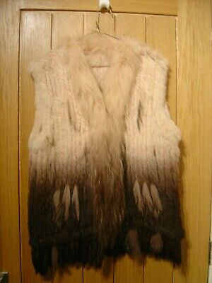 £49.99 • Buy Unbranded Waistcoat Gilet Real Rabbit Hair Size L Brown Cream (Ref V) Ex Con