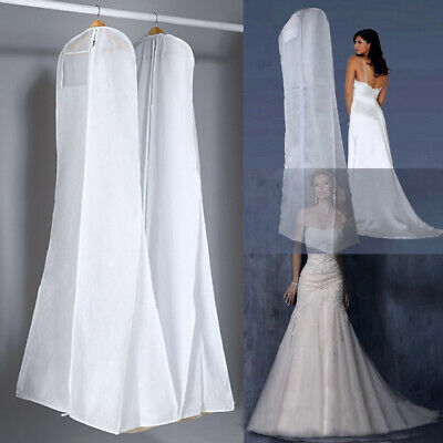 Extra Large Wedding Dress Bridal Gown Garment Cover Breathable Storage Bag White • 7.59£