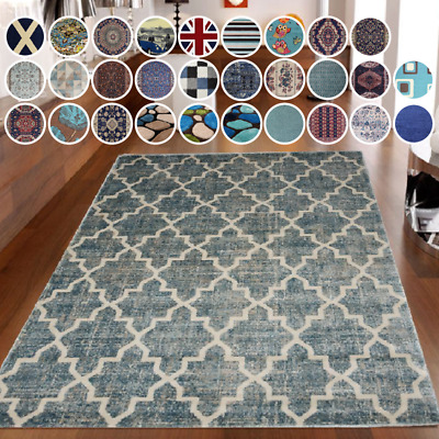 £29.99 • Buy Bravich Soft Non-Shed Pile Traditional Blue Navy Shaggy Rug Modern Funky Mat