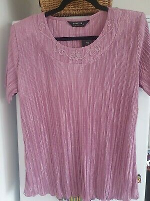£15 • Buy Forever By Michael Gold Crinkle Pink Colour Top Size Xl 16/18 Nwt Otr11