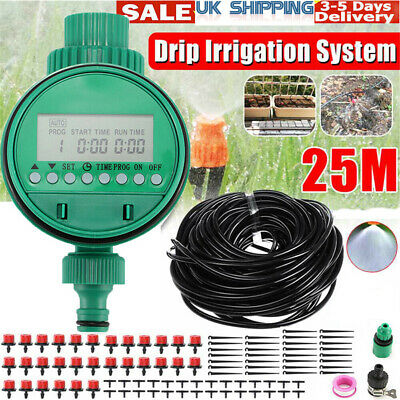 25M Automatic Drip Irrigation System Plant Timer Self Watering Garden Hose Kit • 14.19£
