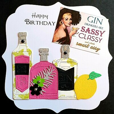 Handmade Card Topper Birthday Gin Slogan Quote Die Cut Large Luxury  • 1.99£