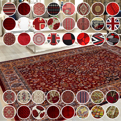 £29.99 • Buy Bravich Red Traditional Shaggy Area Rug Modern Funky Novelty Small Large Carpet