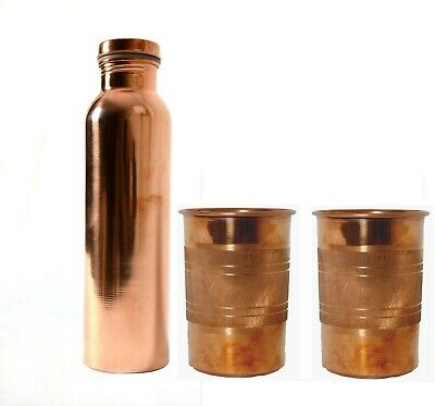 Copper 700 Ml Plain Water Bottle & 2 Silver Touch Glass Ayurveda Free Radicals • 13.95£
