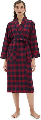 SIORO Womens Robes Flannel Dressing Gown Soft Cotton Plaid, Bathrobe Shawl For S • 36.11£