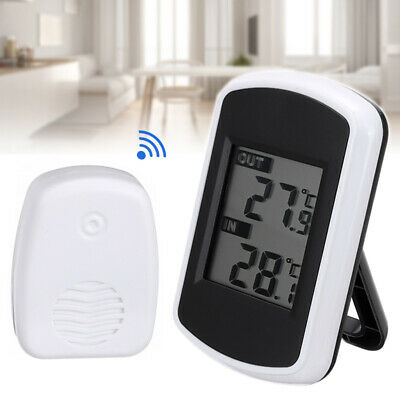 Indoor Outdoor Digital LCD Wireless Thermometer Weather Station Measurer Sensor • 12.50£