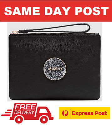 AU62 • Buy Mimco Bliss Medium Pouch Black Rose Gold Clutch Bnwt Dustbag Rrp$99.95 Free Post