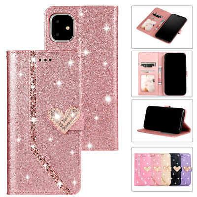 AU13.60 • Buy Bling Glitter Sparkly Flip Wallet Case For IPhone 12 Pro Max Mini 11 Pro XS 8 7+