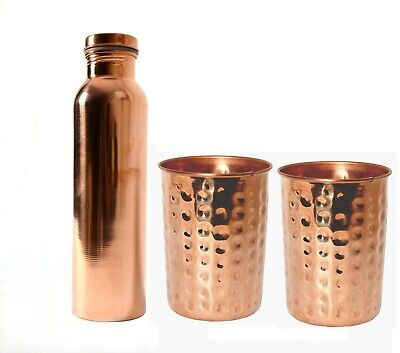 Ayurveda Based  700 Ml Plain Copper Water Bottle & 2 Hammered Glass Set Of 2  • 24.99£