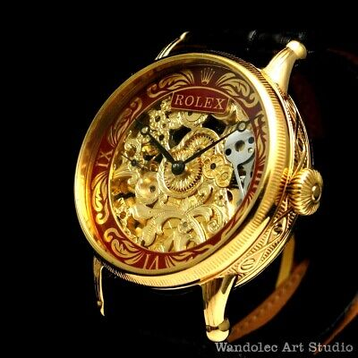 $ CDN1218.68 • Buy Vintage Men's Wristwatch Gold Skeleton Mens Watch With Restored Rolex Movement