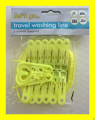 5M 12 PEGS Outdoor Travel Camping Clothes Line Portable Washing Length Holiday • 6.99£