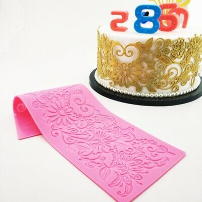 Edible Flower Rattan Lace Cake Embossing Mat Silicone Candy Fondant Imprint Mold • 5.35£
