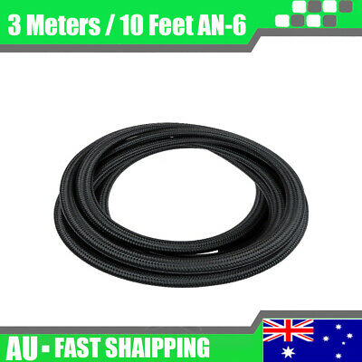 AU26.99 • Buy AN6 6AN Nylon Stainless Steel Braided Fuel Oil Gas Line Hose Pipe 10FT 3