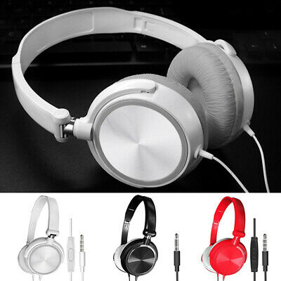 Wired Headphones Microphone Over Ear Headsets Bass Sound Earphones For PC Laptop • 7.42£
