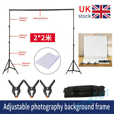 Stand 2×2m Studio Background Support Product Shooting Backdrop Frame Kit. • 21.69£