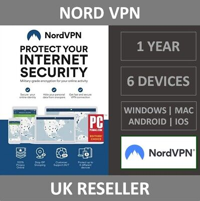 NordVPN Internet Privacy & Security VPN Software - 6 Devices - 1 Year - Download • 43.99£
