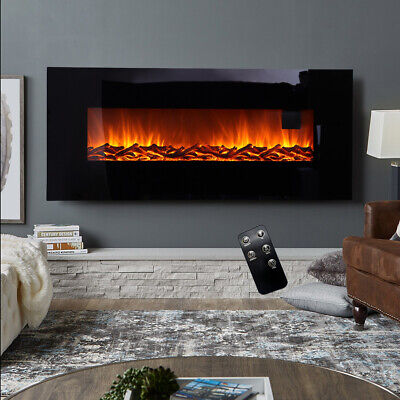 50inch Electric Fire Fireplace Wall Mounte Heater Warmth Living Room Log Burning • 249.95£