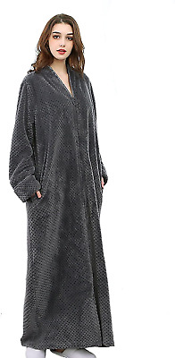 BELLOO Womens Fluffy Fleece Dressing Gown Full Length Bathrobe Zip Front, Grey • 33.65£