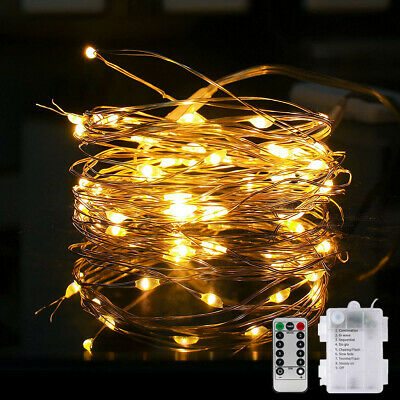 LED Battery Fairy String Lights Party Outdoor Xmas Remote Control Warm White UK • 4.75£