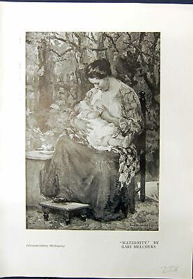 Old Maternity Mother Baby Gari Melchers 1913 Lady Sitting Chair Mirro 20th • 18£